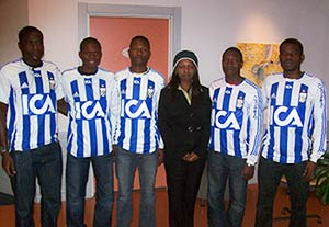 Ruth Lori Head of Corporate Services together with five of VSG players visiting IFK Goteborg during the last